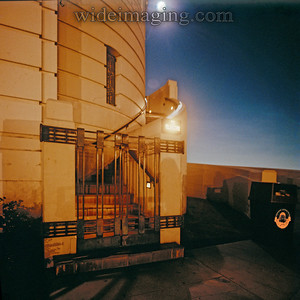 """Griffith Observatory stairway with illuminated """"TO TELESCOPE"""" sign, from October 3, 1987."""