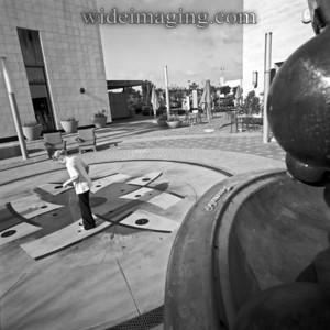 Plaza El Segundo, next to Hippo statue made out of Brunswick bowling balls, April 2009