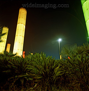 Changing colors of the LAX light towers, October 3, 2007.