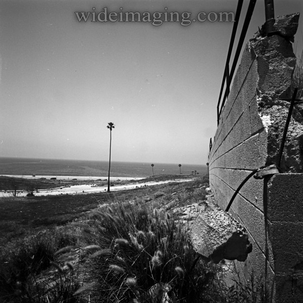 Playa Del Rey, Ghost Town. Remains of a backyard retaining wall overlooks Rindge Ave and Palace Street and another great ocean view.