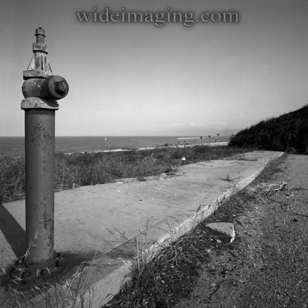 Rindge Avenue, Playa Del Rey, Ghost Town. Vintage Jones Co. hydrant still stands off Sandpiper, with magnificant uninterupted ocean view all the way out to Malibu once enjoyed by the residents.