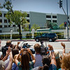 Culver City, California<br /> After speaking at the Veteran Job Fair in Sony Pictures Studio, Prince William waves back to the cheering crowd outside the lot as he and Catherine head out to LAX, ending a surely memorable 3 day visit to Southern California.<br /> Zoom in on the Land Rover to see his Hand! hahahahaha