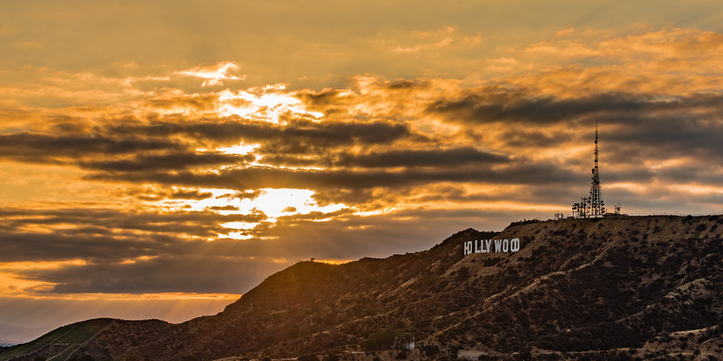 Golden lights on Hollywood