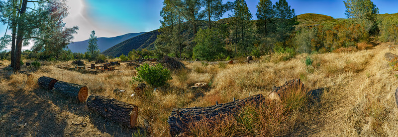 Panorama of The Pines camp, south to north from the east side, August 11, 2017