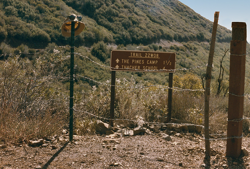 Trail sign at the Horn Canyon - Nordhoff ridge junction, November, 1984