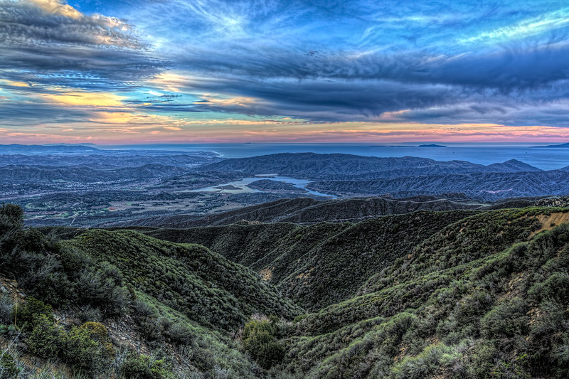 Sunset: Camino Cielo  - Oceanview trail junction camp, view to Ojai Vally, Lake Casitas and the Pacific Ocean, January 27, 2016.