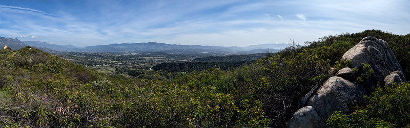 Panorama of the Ventura River preserve from Kennedy Ridge, March 19, 2013.