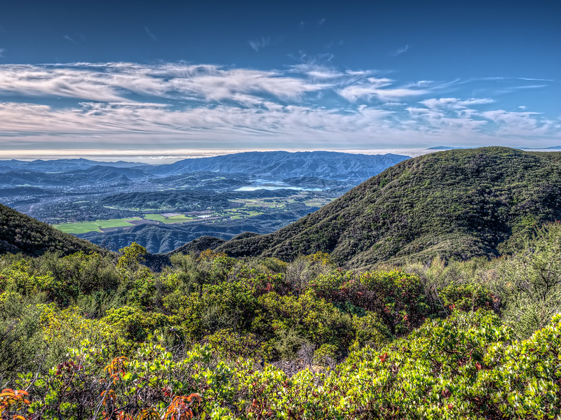 Ojai Valley and Pacific Ocean from Camino Cielo, January 19, 2015.