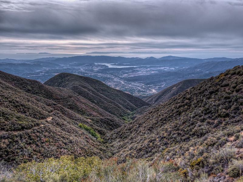 The Ojai Valley, Lake Casitas, Anacapa and Santa Cruz Islands from Nordhoff ridge. Febrary 4, 2014.