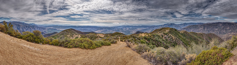 Ojai Valley and Pacific Ocean panorama from Nordhoff Peak, February 4, 2014.