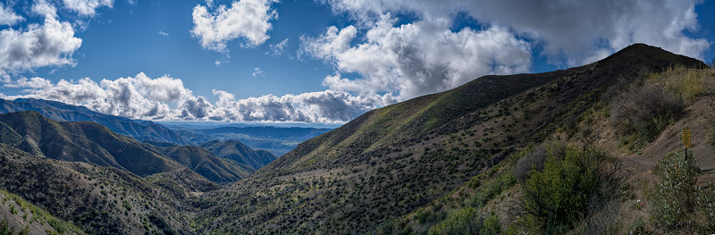 Gridley Canyon panorama from Gridley Trail - Nordhoff Ridge trail junction, March 8, 2020.