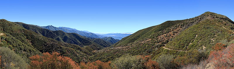 Gridley Canyon panorama from Gridley Trail - Nordhoff Ridge trail junction, September,  2010.