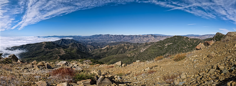 Panoramic photograph from the top of the Don Borad trail on Topatopa bluff. The hike began and ended at the Sisar Canyon trail head. This field of view is approximately 180 degrees swept west to east with north almost dead center. This is a two row by ten frames per row panorama.