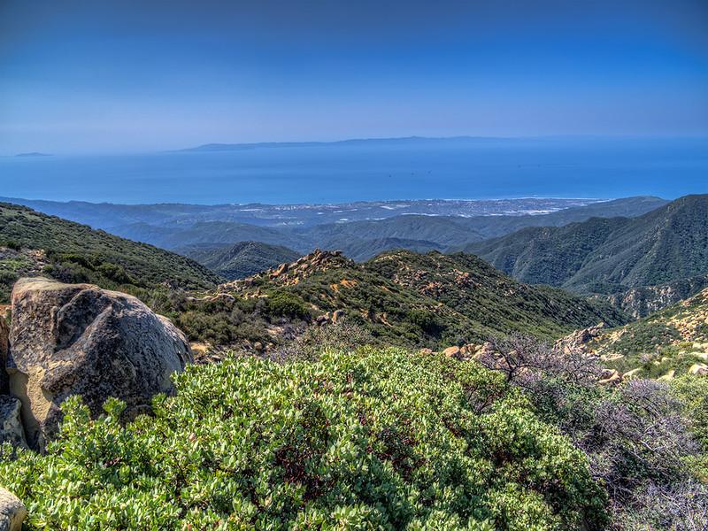 Carpenteria, drilling platforms in the Pacific Ocean and Santa Cruz Island from Santa Ynez ridge, March 22, 2013.