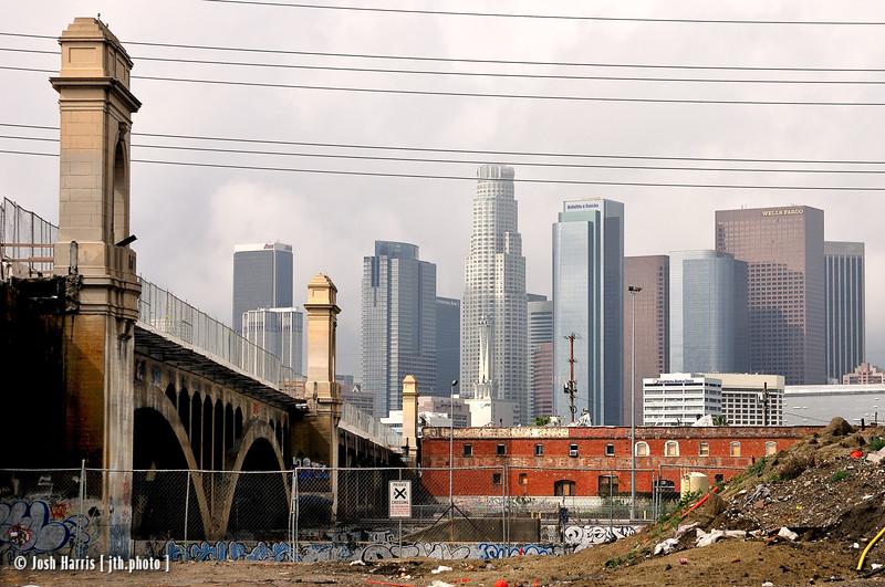 1st Street Bridge from Myers Street, Los Angeles, February 2008.