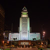 Los Angeles City Hall at night from Grand Park