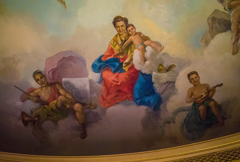 Nethercutt Museum: detail from dining room ceiling - Nethercutts in Heaven