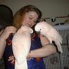 "Denise Engelhardt with her reunited bird ""Charlie"" 1999'"