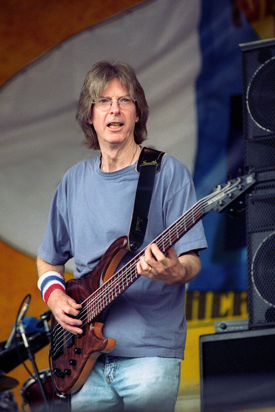 NEW ORLEANS, LA-MAY 5: Phil Lesh performs at the New Orleans Jazz & Heritage Festival on May 5, 2002. (Photo by Clayton Call/Redferns)