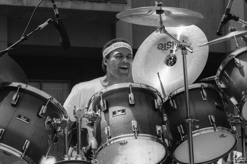 BERKELEY, CA-JANUARY 1: Narada Michael Walden performs on Sproul Plaza at University of California, Berkeley circa 1982. (Photo by Clayton Call/Redferns)