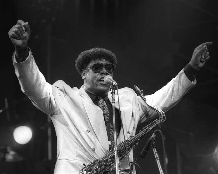 SAN FRANCISCO, CA-March 2: Clarence Clemons performs with his band at the Bay Area Music Awards at the San Francisco Civic Center on March 2, 1991. (Photo by Clayton Call/Redferns)