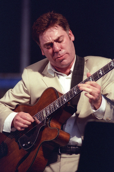 NEW ORLEANS, LA-MAY 5: Peter Bernstein performs with Nicholas Payton's Soul Patrol at the New Orleans Jazz & Heritage Festival on May 5, 2002. (Photo by Clayton Call/Redferns)