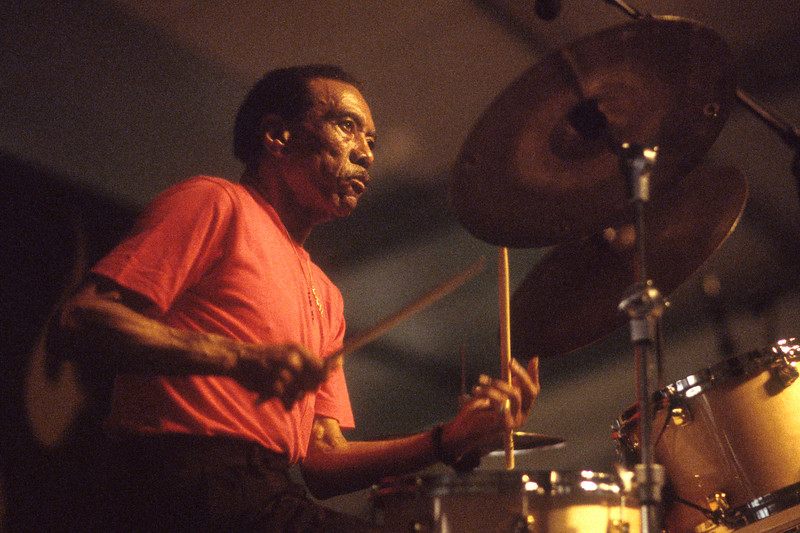 NEW ORLEANS, LA-APRIL 23: Earl Palmer performs as part of the Tribute to Ed Blackwell at the New Orleans Jazz & Heritage Festival on April 23, 1994. (Photo by Clayton Call/Redferns)