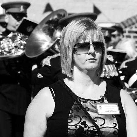 Woman bandleader at Aldeburgh carnival.