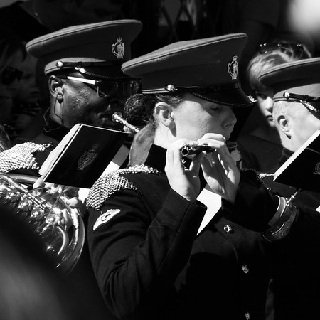 Flute and trumpet players at Aldeburgh carnival.