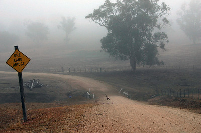 One Lane Bridge near Morongla Creek - galahs in the mist. June 2005