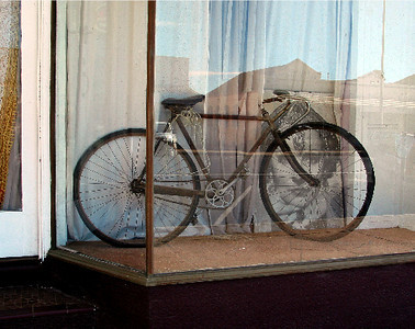 Bicycle in main street, Blayney. May 2003
