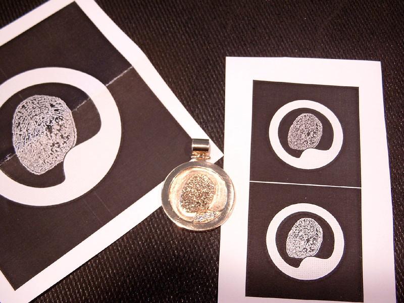 Fingerprint pendant patterns and completed pendant.