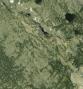 The topographic map locations overlayed on a Google Earth satellite image.