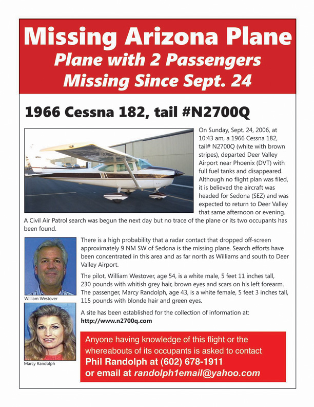 Flyers were posted at airports throughout the state during the 2 1/2 year search for the missing aircraft and it's occupants.