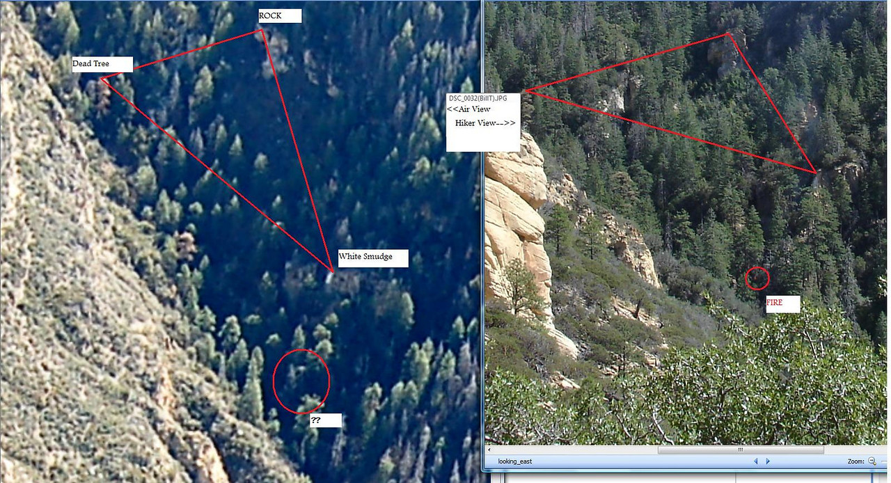 A photo comparison was made of the photo taken by the group of hikers and an aerial photo taken by a search aircraft.