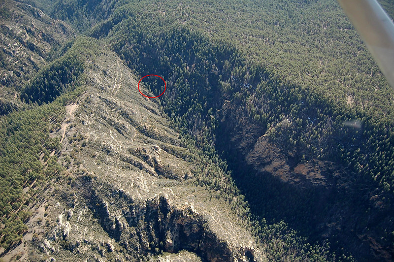 This aerial photo taken of Loy Canyon shows the location of the reported fire and accident site location of N2700Q marked by the red circle.