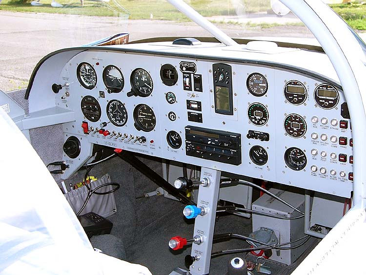 A typical instrument panel layout for a Van's Aircraft RV-6 is shown in this photograph.<br /> <br /> Since each RV aircraft is custom built by the owner, a variety of options and avionics are available making each aircraft unique to it's builder.