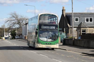 1038 is Loganlea bound on East Main Street Broxburn on 9th April 2021