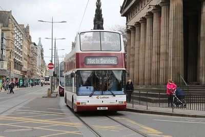 217 still has her Christmas branding and is out and about on route learning for City Sightseeing.   There were half a dozen new drivers on board, but the man at the wheel is a 'regular' EBT man..