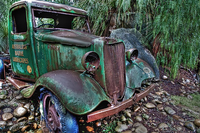This old truck, and a few other rusting hulks, sit at the entrance to Australian Native Landscapes outlet on Mona Vale Road in Sydney, NSW.