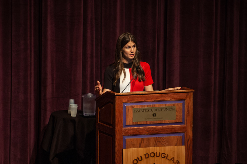 In the Forum Hall of the Student Union special guest spearker Carolyn DeWitt presents her lecture over How Our Freedom to Vote is Under Attack as part of the Lou Douglas lecture series. De Witt, the Executive Director of Rock the Vote, came to Kansas State on October 9th, 2018 (Rowan Jones|Collegian Media Group)