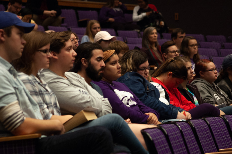 Two Kansas State students doze off during Carolyn De Witt's lecture about 'How Our Freedom to Vote is Under Attack'. De Witt, Executive Director of Rock the Vote, made it a key point that many states make it difficult for college age students to vote. Held on October 9th, 2018, the 7o'clock lecture was part of the Lou Douglas lecture series. (Rowan Jones|Collegian Media Group)