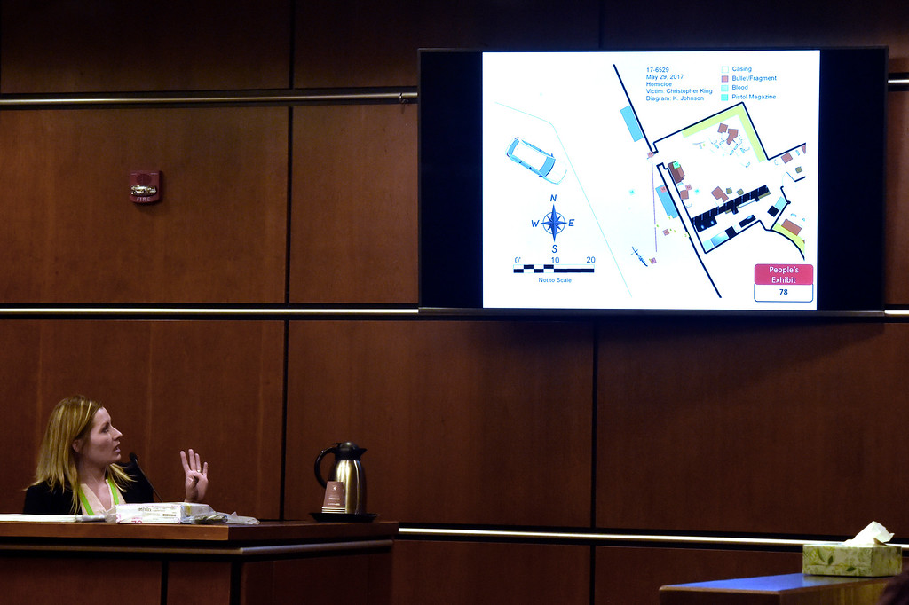 . BOULDER, CO - FEBRUARY 13, 2019:  Boulder Police Department Detective Kara Wills explains a piece of evidence during the Louis Sebastian trial on a charge of first-degree murder in the May 2017 shooting of Christopher King, 49, at the Boulder County Justice Center on Wednesday at the Boulder County Justice Center in Boulder. For more photos of day 2 of the trial go to dailycamera.com  (Photo by Jeremy Papasso/Staff Photographer)