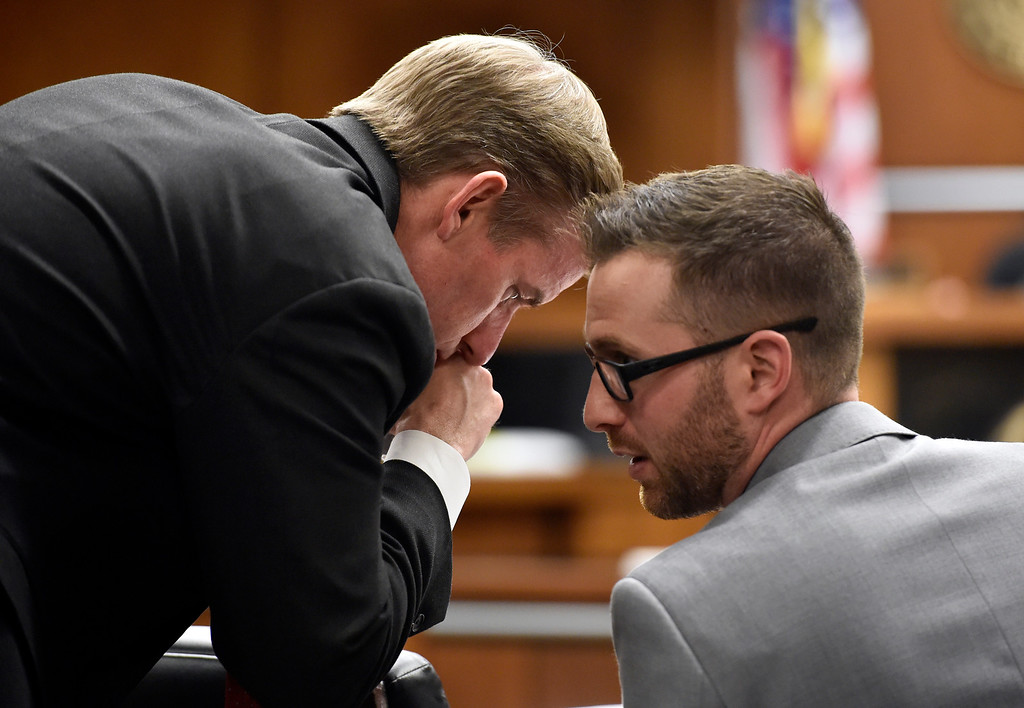 . BOULDER, CO - FEBRUARY 13, 2019:  Boulder County District Attorney Michael Doherty talks with prosecution attorney Mark Grimaldi during the Louis Sebastian trial on a charge of first-degree murder in the May 2017 shooting of Christopher King, 49, at the Boulder County Justice Center on Wednedsay at the Boulder County Justice Center in Boulder. For more photos of day 2 of the trial go to dailycamera.com  (Photo by Jeremy Papasso/Staff Photographer)