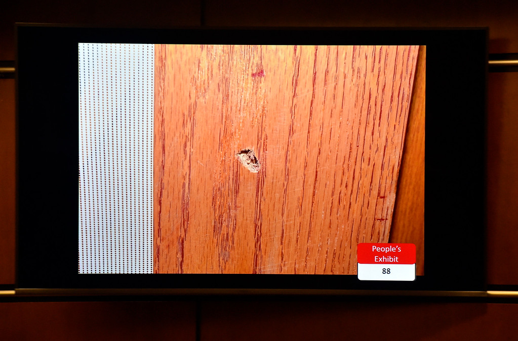 . BOULDER, CO - FEBRUARY 13, 2019:  A piece of evidence in the Louis Sebastian trial on a charge of first-degree murder in the May 2017 shooting of Christopher King, 49, at the Boulder County Justice Center on Wednesday at the Boulder County Justice Center in Boulder. For more photos of day 2 of the trial go to dailycamera.com  (Photo by Jeremy Papasso/Staff Photographer)