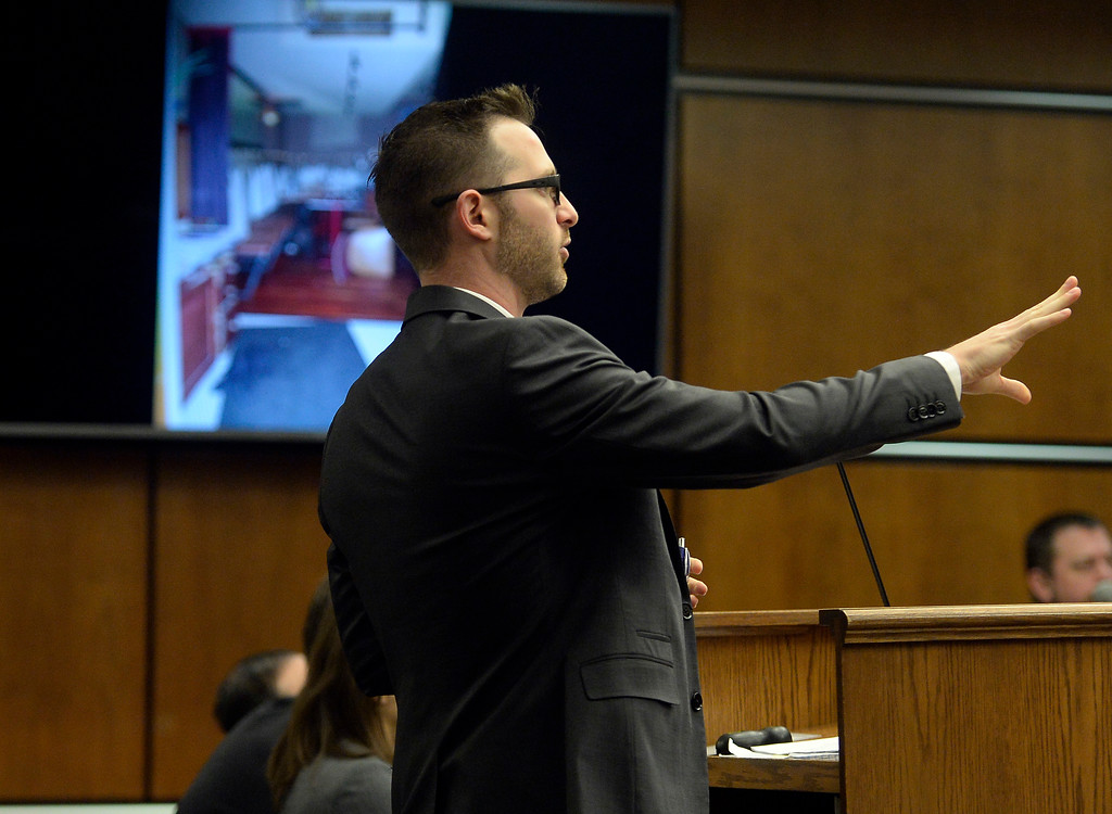 . BOULDER, CO - FEBRUARY 19:Attorney Mark Grimaldi questions a witness during the murder trial of Louis Sebastian at the Boulder County Justice Center on Feb. 19, 2019. Sebastian is charged with first-degree murder in the 2017 shooting death of Christopher King. (Photo by Cliff Grassmick/Staff Photographer)