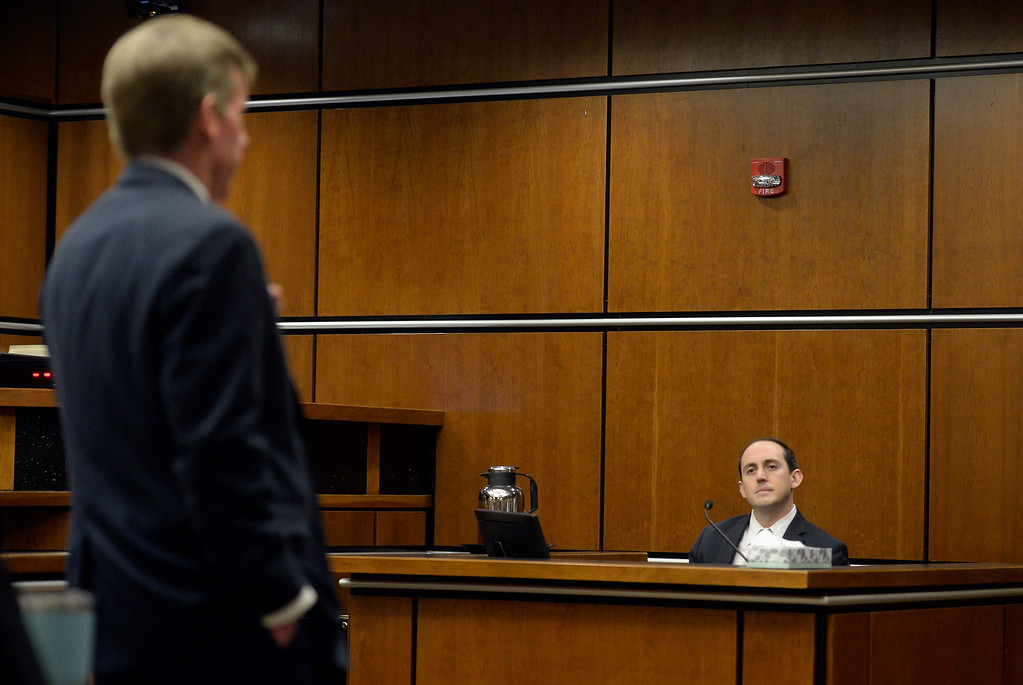 . BOULDER, CO - FEBRUARY 20:Boulder District Attorney Michael Dougherty, left, questions Louis Sebastian, right, in court at the Boulder County Justice Center on Feb. 20, 2019. Sebastian is charged with first-degree murder in the 2017 shooting death of Christopher King. (Photo by Cliff Grassmick/Staff Photographer)