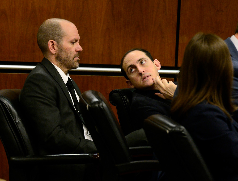 . BOULDER , CO FEBRUARY 12, 2019 Louis Sebastian, speaks with his defense team Investigator Ian Burnett Tuesday morning during his trial on a charge of first-degree murder in the May 2017 shooting of Christopher King, 49, at the Boulder County Justice Center. For more photos go to dailycamera.com (Photo by Paul Aiken/Staff Photographer)