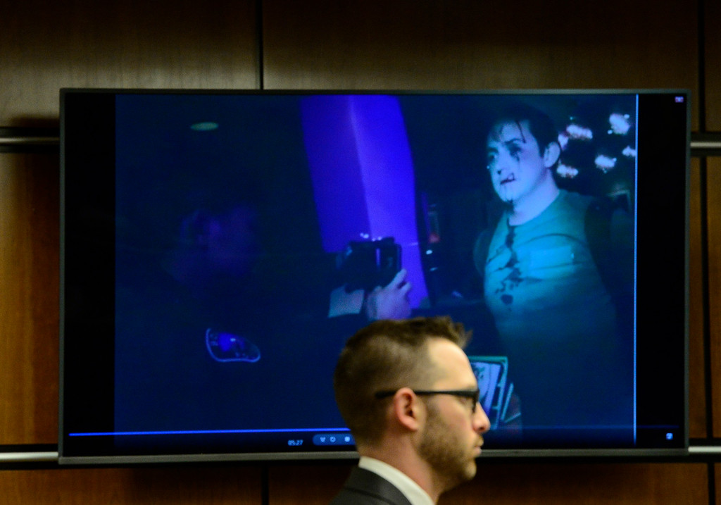 . BOULDER , CO FEBRUARY 12, 2019 Prosecutor Mark Grimaldi watches Louis Sebastian arrest on Boulder Police Officer Matthew Cornith\'s body camera footage during Sebastian\'s trial on a charge of first-degree murder in the May 2017 shooting of Christopher King, 49, on Tuesday at the Boulder County Justice Center. For more photos go to dailycamera.com (Photo by Paul Aiken/Staff Photographer)