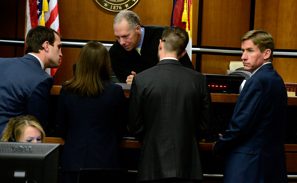 . BOULDER , CO FEBRUARY 12, 2019 From left to right, Defense Attorneys Benjamin Collett and Nelissa Milfeld and Prosecutors Mark Grimaldi and District Attorney Michael Dougherty confer with Judge Andrew Hartman during Louise Sebastian\'s trial on a charge of first-degree murder in the May 2017 shooting of Christopher King, 49, on Tuesday at the Boulder County Justice Center. For more photos go to dailycamera.com (Photo by Paul Aiken/Staff Photographer)